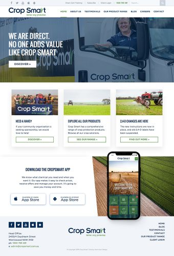 cropsmart website by intervision design