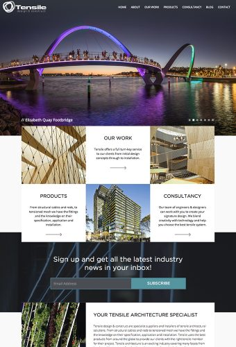 tensile website by intervision design