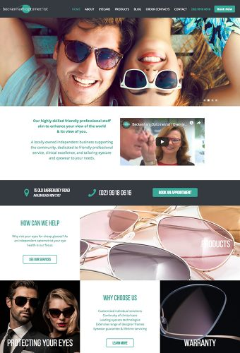 beckenham optometrists website by intervision design