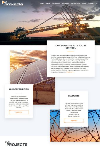 provecta engineers website by intervision design