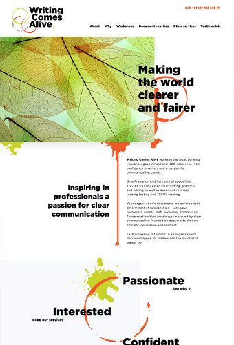writing comes alive creative website by intervision design