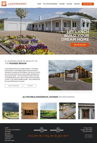 lynch builders website by intervision design