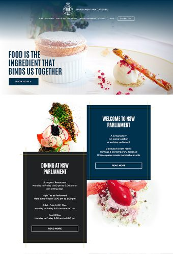 Parliamentary Catering website by intervision design